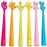 SSyang 6 Stück Niedliche Stifte aus Silikon,Biegbar Finger-Kugelschreiber,Cartoon-Kugelschreiber,interessant,Tinte,Kugelschreiber für Kinder,Schule,Büro,Familie.