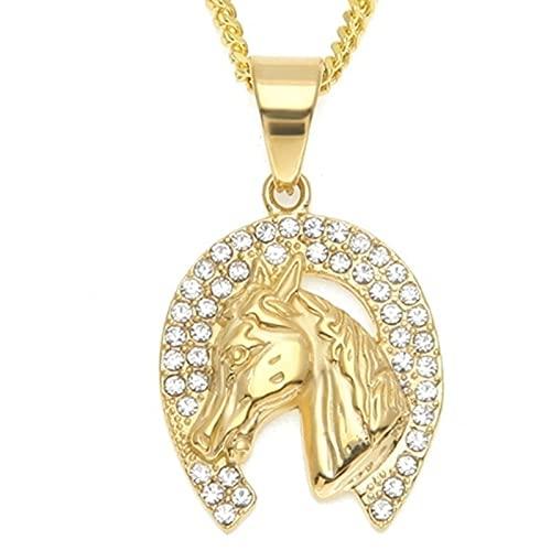 Cabeza de caballo colganteacero inoxidable Animal Bling Hombres Hip Hop Collar collar joyería