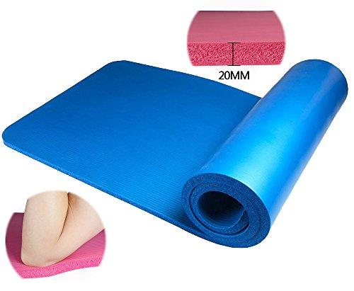 【 極厚で安心のボリューム感 】 ヨガマット トレーニングマット 滑り止め溝 専用ケース付き ブルー 【 極厚20mm 】 ZS-YOGA20-BL