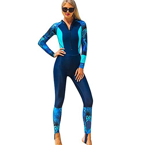 YHRJ Traje de Neopreno Estampado de una Pieza, Traje de Surf con Capucha de Secado rápido y Protector Solar, Traje de Snorkel en lancha rápida de natación de Manga Larga (Color : Blue-L)