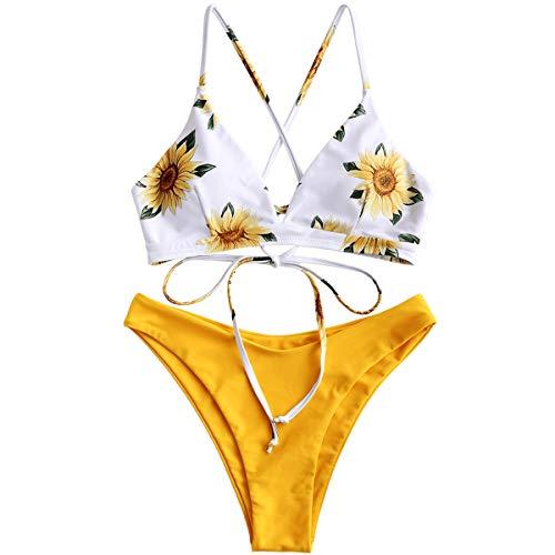ZAFUL Damen Gepolsterter Bikini Set Bademode Badeanzug mit Blumenmuster Schnürung Zweiteilig Gelb-1Large