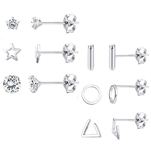 Milacolato 6 Paar 925 Sterling Silber Ohrstecker Set Bar Stern für Damen Zirkonia Ohrringe Set Kleine Schicke Mini Ohrringe Stecker Silber