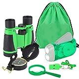 Qiilu Torcia elettrica a manovella set binocolo 6 pezzi per bambini Avventurose Esplorazioni della Natura Kit di Esplorazione binocolo Bambini per Campeggio Escursionismo Regalo per i Bambini (verde)