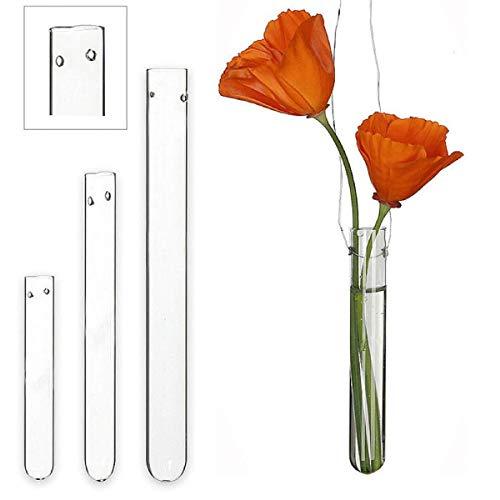 Ideas 4 Seasons Reagenzglas mit Loch, 15 cm, 12 Stück, Wasserröhrchen, Glas, Blumen-Vase, zum Aufhängen, hängend, Hochzeit, Kirche, Blumen-Gestecke