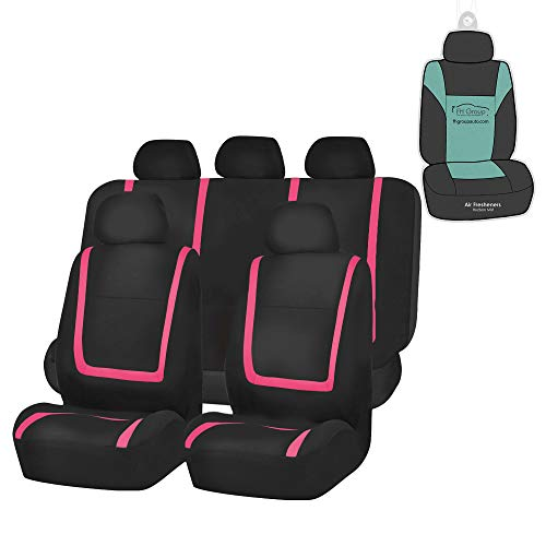 FH Group FH-FB032115 Unique Flat Cloth Seat Cover w. 5 Detachable Headrests and Solid Bench Pink/Black- Fit Most Car, Truck, SUV, or Van