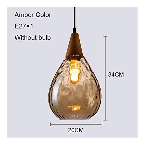 Moderne dekorative Lampshade Vintage Pendelleuchten Glaspendelleuchte Tropfen-Form Hängelampe Kücheninsel Esszimmer Wohnzimmer Cafe Bar E27 LED-Licht (Body Color : Amber 20CM)
