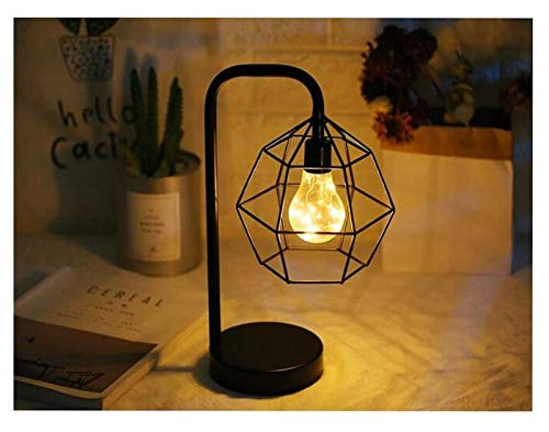 KF Lámpara de mesa, Loft de iluminación industrial vintage tubo de agua mesa de madera E27 Edison luz lámpara de escritorio de hierro forjado pantalla acento mesita de noche cafetería pasillo