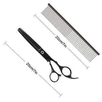 RCruning-EU Ciseaux de Chien Set 7inch (4PCS Pet Scissors + 1PCS Grooming Comb) Stainless Steel Scissor with Combs Trimmer Kits Kit de Toilettage de Première Qualité for Chien Chat Animaux