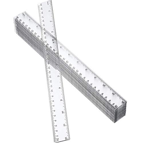 50 Pack Clear Plastic Ruler, 12 Inch Standard/Metric Rulers Straight Ruler Measuring Tool for Student School Office (Clear) (Renewed)