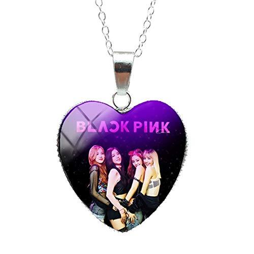 Nuevo 2019 Moda Corea Pop Blackpink Grupo Corazón Vidrio Cabochon Joyería Collar Mano Artesanía Corazón Colgante Regalos para Fans