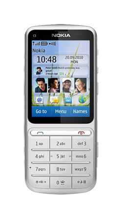 Nokia C3-01 Touch and Type / 5 MP / Touchscreen Handy auf Vodafone Pay as You Go / Pre-Pay / PAYG / Silber