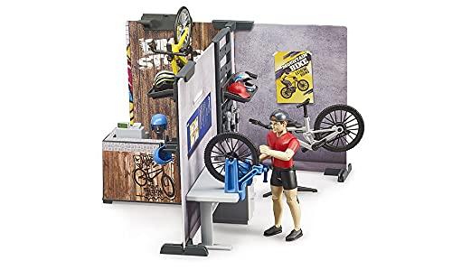 Bruder 63120 - Bworld Fahrrad Shop mit Rennrad, Mountainbike, Werkstatt mit Ausrüstung und Werkzeugen, Verkaufstresen u.v.m.