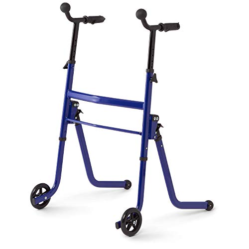 Medline Stand & Go Walker for Seniors, Premium 2-in-1 Stand Assist Walker with Wheels and Glides, Blue Frame (MDS86410SGB)