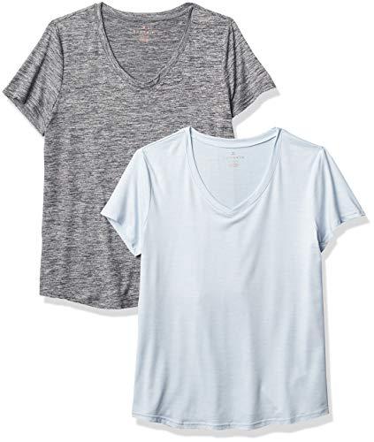 Danskin Pack de 2 Camisetas Esenciales con Cuello en V para Mujer, Tinte Espacial Negro/Tinte Espacial Moonstone, S