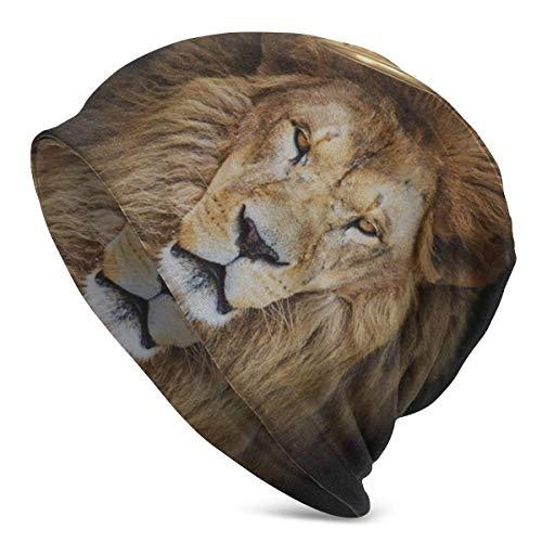 Lawenp Rey de Len Africano con Corona Hombres Mujeres Gorros de Punto Sombreros de Invierno Gorras de Cobertura