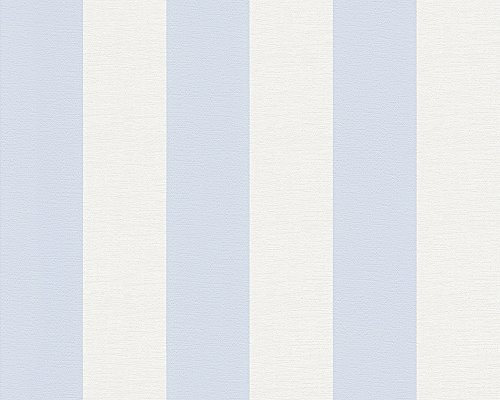 A.S. Création Vliestapete Liberté Tapete Landhaus Shabby Chic 10,05 m x 0,53 m blau weiß Made in Germany 314024 3140-24