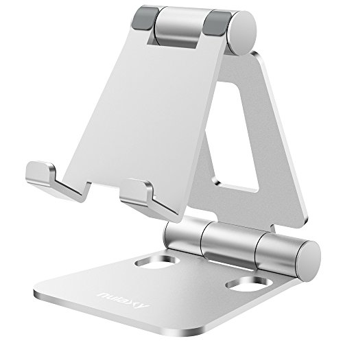 Soporte Móvil Mesa, Soporte Móvil Escritorio, Soporte Teléfono Mesa Aluminio, Soporte Móvil Tablet Mesa Plegable para iPhone X 8 7Plus 7 6S 6,Samsung, Huawei,Tablets,iPad,Note,Nintendo Switch - Plata