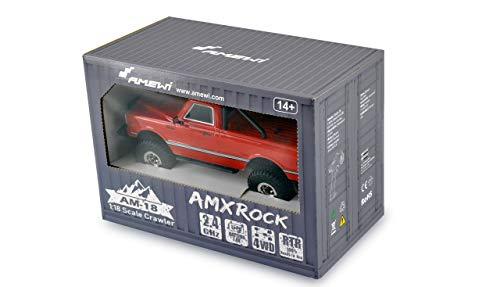 Amewi 22424 Brushed RC Modellauto Elektro Geländewagen Allradantrieb (4WD) 2,4 GHz inkl. Akku und AMXRock AM18 Scale Crawler Pick-Up 1:18 RTR rot
