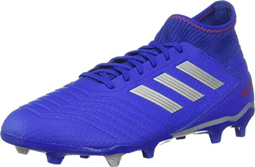 adidas Performance Men's Predator 19.3 Firm Ground Athletic Shoe, Bold Blue/Silver Metallic/Active red, 7.5 M US