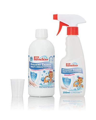 Pastaclean Hygiene Zauber - Desinfektionsmittel für Hände, Haut, Obst & Gemüse, Textilien, Pflanzen und allen Oberflächen - aus 500ml Konzentrat machen Sie mit Wasser 5 Liter Desinfektionsmittel