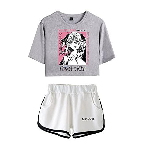 CCEE Hot Summer Comic Die Quintessenz Quintuplets Pink Exposed Navel Black T-Shirt + Shorts Lässige Zweiteilige Damen- / Mädchen-Sets