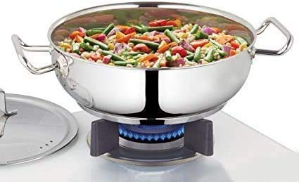 Spacetouch Stainless Steel Flat kadhai with Stainless Steel lid 3.2 Liter Cooking Wok Karahi Kadai
