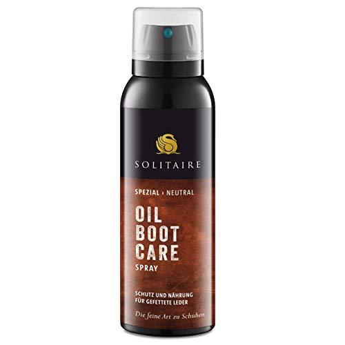 Solitaire Oil Boot Care Spray für Schuhe 125ml Intensivpflege und Schutz für geölte und gewachste Leder, Fettleder, farblos