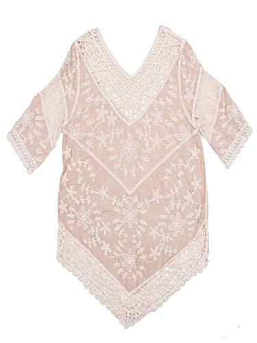 L-brzoskwinia damska szydełkowana wydrążona bluzka tunika odzież plażowa bikini okrycie up