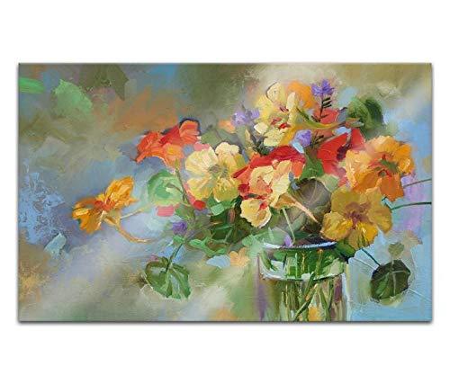 Acrylglasbilder 80x50cm Blumen abstrakte Kunst Vintage Vase gelb rot Malerei Acryl Bilder Acrylbild Acrylglas Wand Bild 14H1262