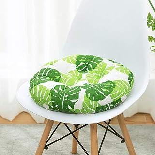 Nicole Knupfer Juego de 2 cojines redondos para silla, de algodón y lino, para interior y exterior (diámetro: 40 cm)