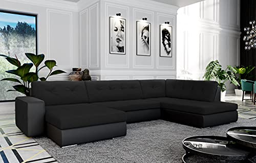 Atia – Sofá esquinero panorámico convertible en cama – en tejido y piel sintética ángulo recto (negro)