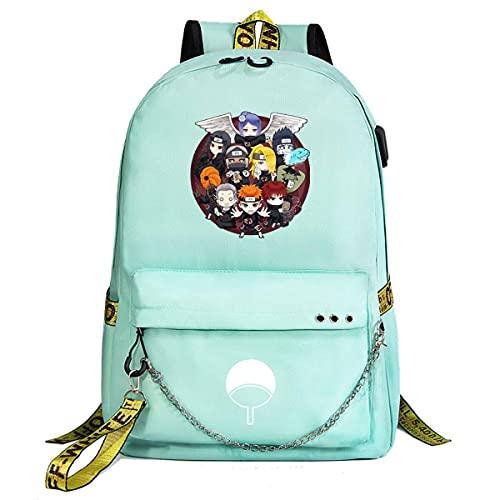 KUGRRFRC Borsa da scuola per studenti con zaini Naruto, zaino moda casual ultrasottile impermeabile e resistente con catena USB