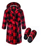 Kids Coral Fleece Robe with Slippers Boys Girls Soft Plush Hooded Bathrobe & Slipper Set Toddlers(Red/Black Plaid,7-8Years)