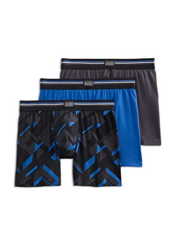 Jockey Men's Underwear No-Fly Stretch Boxer Brief - 3 Pack, Moonlight Blue, L