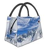 Bolsa de almuerzo con aislamiento ,Deportes de esquí Snow Mountain LandscapeBolsa térmica portátil para el almuerzo, Bolsa para calentar alimentos, para trabajo de oficina, picnic, senderismo, playa.