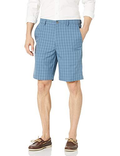 Haggar Men's Cool 18 Plaid Hidden Expandable Waist Short, Cadet Blue, 42