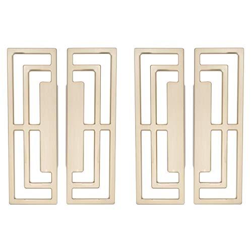 CUTOOP 4 unids/2 pares de manijas huecas cepilladas de aleación de zinc para puerta de gabinete, armario, puerta de cocina, cajón de armario, accesorios para muebles de mejoras para el hogar (dorado)