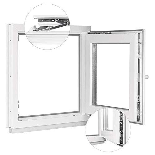 Kunststofffenster Weiß - Kellerfenster 2 Fach Verglasung BxH: 750 x 450 mm - Alle Größen - Garagenfenster/Gartenhaus Fenster 75 x 45 cm - 58 mm Profil - Din Rechts - Funktion Dreh Kipp Fenster