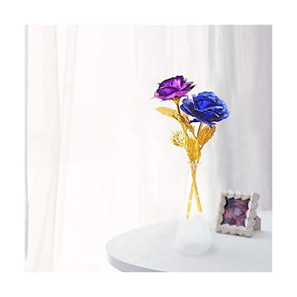 ALLOMN Rosa, Flores Artificiales, 24K Chapado en Oro Rosa con Caja de Regalo día de San Valentín Día de la Madre…