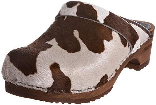 Sanita Damen Caroline open Clogs, Mehrfarbig (Brown Cow 3), 39