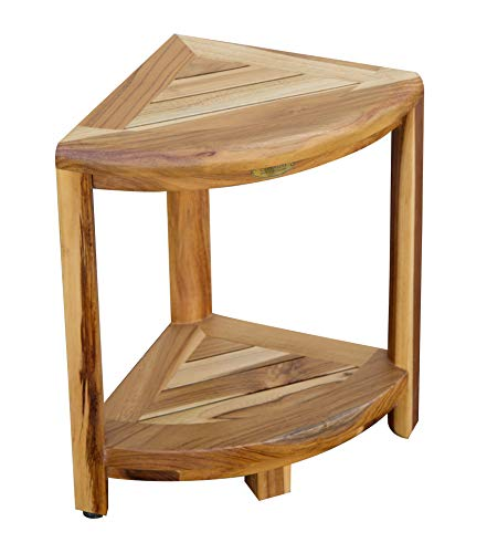 EcoDecors EarthyTeak 2-Tier Compact Teak Corner Shower Foot Stool