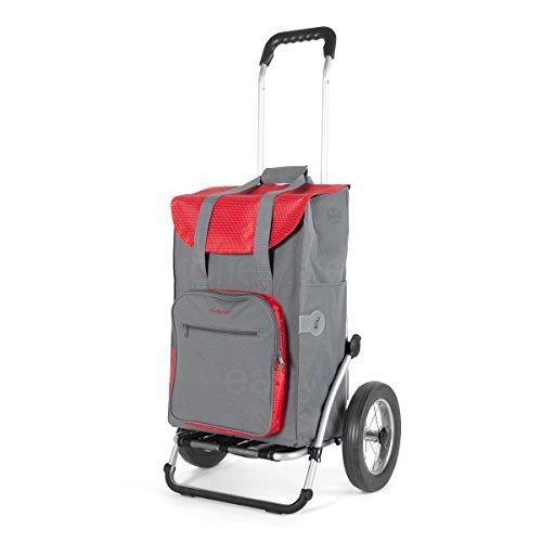 Andersen Einkaufstrolley Royal mit Metallspeichenrad 25 cm und 45 Liter Einkaufstasche Wismar grau/rot mit Kühlfach Einkaufswagen Gestell aus Aluminium klappbar