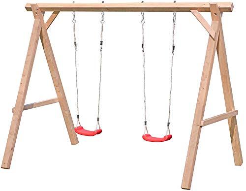 Schaukelgestell Holz Lärche Typ 1.2 Doppelschaukel für Kinder aus Lärchenholz, TÜV-geprüft