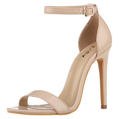 ZriEy Women's Heeled Sandals Ankle Strap Dress High Heels Stilettos, Nude, 5 M US
