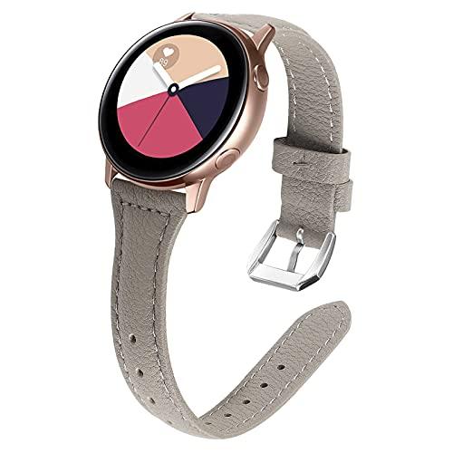 Gear S3 Correas, TechCode 22mm Correas de Cuero Genuino Reemplazo con Hebilla de Metal clásica Band de Pulsera Ajustables para Samsung Galaxy Watch 3 45mm/ Reloj 46mm/ Gear S3 (Gris01)