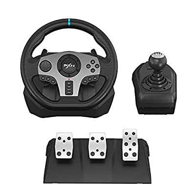 PC Steering Wheel, PXN V9 Universal Usb Car Sim 270/900 degree Race Steering Wheel with 3-pedal Pedals And Shifter Bundle for PS3, PS4, Xbox, One, Nintendo Switch