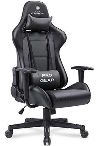 Casa Copenhagen ESPP52 Collection - Professional Gaming Chair with Ergonomic Lumbar Pillow Support Italian leather Reclining High Back Home & Office Chair with Armrest, Adjustable Height Seat and 360 Swivel - Mate Black