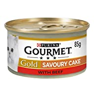 Gourmet Gold Wet Cat Food Savoury Cake Beef Can Adult, 85 g - Pack of 12