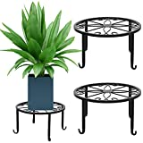 Richaa - Soporte de plantas en maceta, 3 unidades de soporte de planta de metal interior, soporte de planta en maceta de flor, soporte de recipiente redondo decorativo para la decoración del hogar