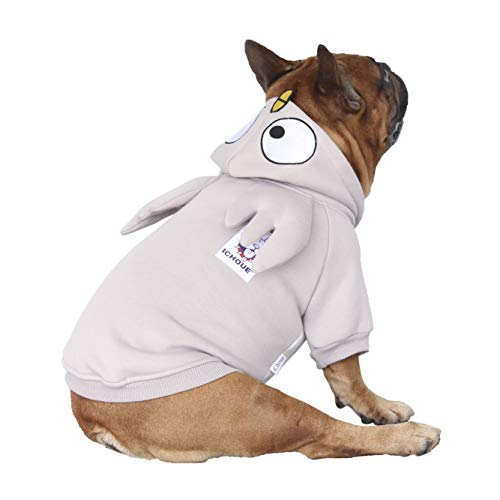 iChoue Parrot Dog Costumes Hoodie Warm Coat Winter Clothes for French Bulldog Frenchie Shiba Inu -Grey Parrot/M